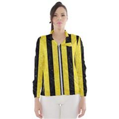 Stripes1 Black Marble & Gold Glitter Wind Breaker (women)