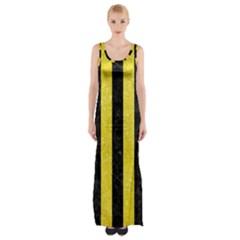 Stripes1 Black Marble & Gold Glitter Maxi Thigh Split Dress