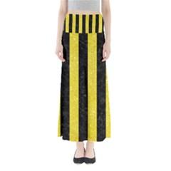 Stripes1 Black Marble & Gold Glitter Full Length Maxi Skirt