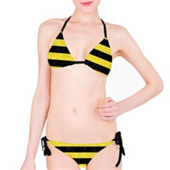Stripes2 Black Marble & Gold Glitter Bikini Set