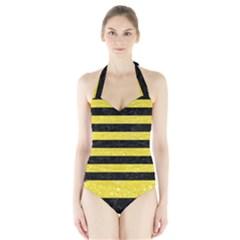 Stripes2 Black Marble & Gold Glitter Halter Swimsuit
