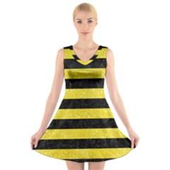 Stripes2 Black Marble & Gold Glitter V Neck Sleeveless Skater Dress