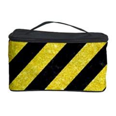 Stripes3 Black Marble & Gold Glitter Cosmetic Storage Case