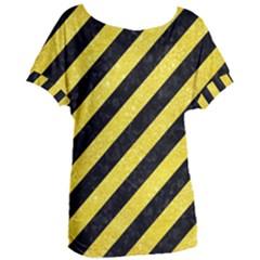 Stripes3 Black Marble & Gold Glitter Women s Oversized Tee