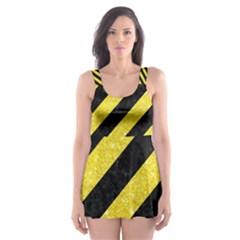 Stripes3 Black Marble & Gold Glitter Skater Dress Swimsuit