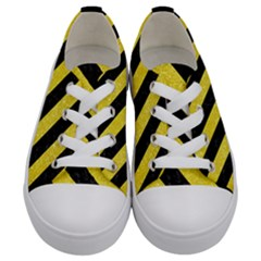 Stripes3 Black Marble & Gold Glitter (r) Kids  Low Top Canvas Sneakers