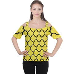 Tile1 Black Marble & Gold Glitter (r) Cutout Shoulder Tee
