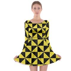 Triangle1 Black Marble & Gold Glitter Long Sleeve Skater Dress