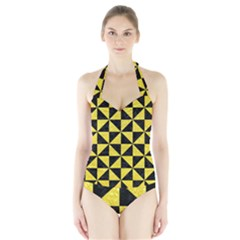 Triangle1 Black Marble & Gold Glitter Halter Swimsuit