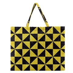 Triangle1 Black Marble & Gold Glitter Zipper Large Tote Bag