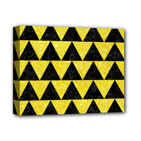 Triangle2 Black Marble & Gold Glitter Deluxe Canvas 14  X 11