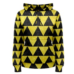 Triangle2 Black Marble & Gold Glitter Women s Pullover Hoodie