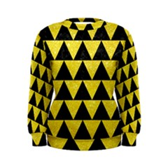 Triangle2 Black Marble & Gold Glitter Women s Sweatshirt