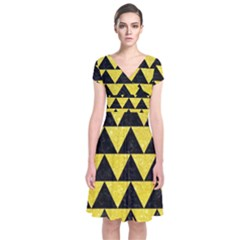 Triangle2 Black Marble & Gold Glitter Short Sleeve Front Wrap Dress