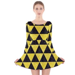 Triangle3 Black Marble & Gold Glitter Long Sleeve Velvet Skater Dress