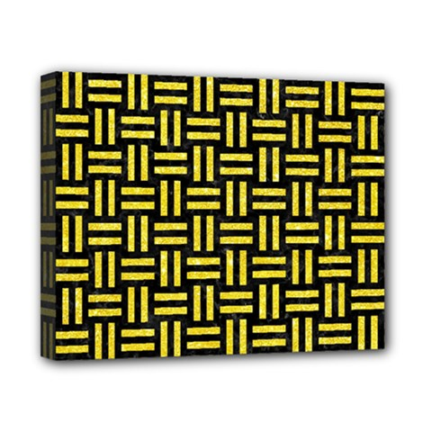 Woven1 Black Marble & Gold Glitter Canvas 10  X 8