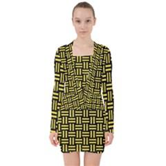 Woven1 Black Marble & Gold Glitter V Neck Bodycon Long Sleeve Dress