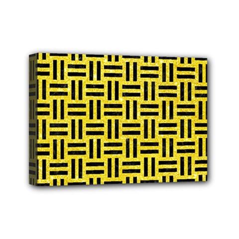 Woven1 Black Marble & Gold Glitter (r) Mini Canvas 7  X 5