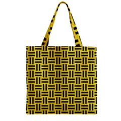 Woven1 Black Marble & Gold Glitter (r) Zipper Grocery Tote Bag