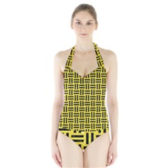 Woven1 Black Marble & Gold Glitter (r) Halter Swimsuit