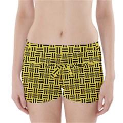 Woven1 Black Marble & Gold Glitter (r) Boyleg Bikini Wrap Bottoms