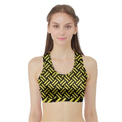 Woven2 Black Marble & Gold Glitter Sports Bra With Border