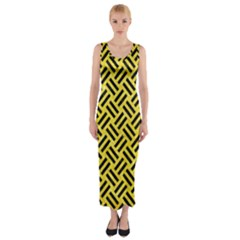 Woven2 Black Marble & Gold Glitter (r) Fitted Maxi Dress