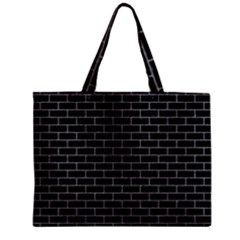 Brick1 Black Marble & Gray Colored Pencil Zipper Mini Tote Bag