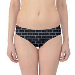 Brick1 Black Marble & Gray Colored Pencil Hipster Bikini Bottoms