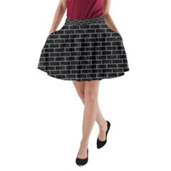 Brick1 Black Marble & Gray Colored Pencil A Line Pocket Skirt