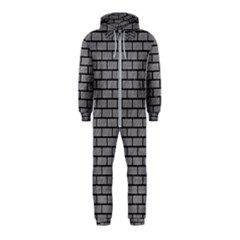 Brick1 Black Marble & Gray Colored Pencil (r) Hooded Jumpsuit (kids)