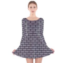 Brick1 Black Marble & Gray Colored Pencil (r) Long Sleeve Velvet Skater Dress