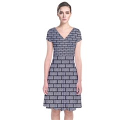 Brick1 Black Marble & Gray Colored Pencil (r) Short Sleeve Front Wrap Dress