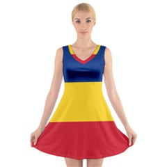 Gozarto Flag V Neck Sleeveless Skater Dress