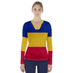 Gozarto Flag V Neck Long Sleeve Top