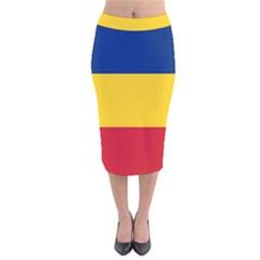 Gozarto Flag Velvet Midi Pencil Skirt
