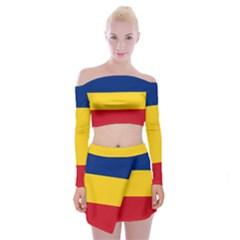 Gozarto Flag Off Shoulder Top With Skirt Set