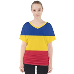 Gozarto Flag V Neck Dolman Drape Top
