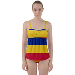 Gozarto Flag Twist Front Tankini Set