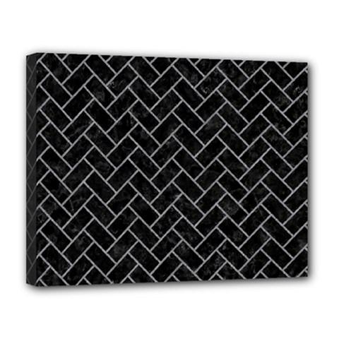 Brick2 Black Marble & Gray Colored Pencilbrick2 Black Marble & Gray Colored Pencil Canvas 14  X 11