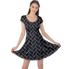 Brick2 Black Marble & Gray Colored Pencilbrick2 Black Marble & Gray Colored Pencil Cap Sleeve Dress