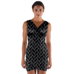 Brick2 Black Marble & Gray Colored Pencilbrick2 Black Marble & Gray Colored Pencil Wrap Front Bodycon Dress