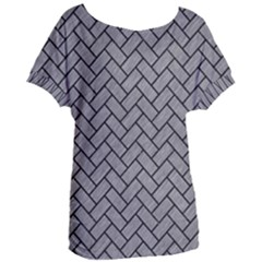 Brick2 Black Marble & Gray Colored Pencil (r) Women s Oversized Tee