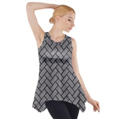 Brick2 Black Marble & Gray Colored Pencil (r) Side Drop Tank Tunic