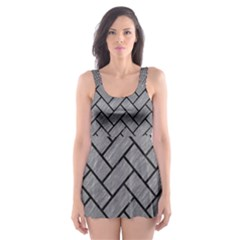 Brick2 Black Marble & Gray Colored Pencil (r) Skater Dress Swimsuit