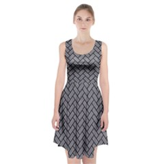 Brick2 Black Marble & Gray Colored Pencil (r) Racerback Midi Dress