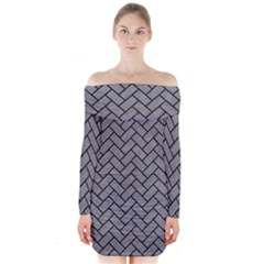 Brick2 Black Marble & Gray Colored Pencil (r) Long Sleeve Off Shoulder Dress