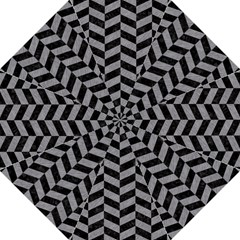 Chevron1 Black Marble & Gray Colored Pencil Folding Umbrellas
