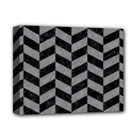Chevron1 Black Marble & Gray Colored Pencil Deluxe Canvas 14  X 11