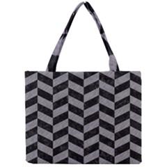 Chevron1 Black Marble & Gray Colored Pencil Mini Tote Bag